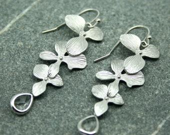 Orchid flower and crystal drop earrings, bridal earrings, bridesmaid earrings, flower drop and crystal earrings, wedding jewellery