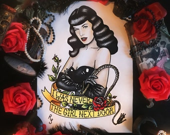 Original painting and prints! Bettie Page Queen of Pinups Tattoo Flash