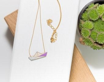 Boat Necklace (Silver/purple) natural wood and gold chain.