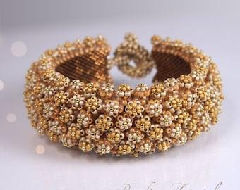 Tutorial Corona De Flore bracelet, Flower bracelet beading pattern, DIY tutorial