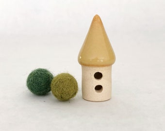 Micro miniature house - one miniature fairy cottage, white clay, carved double entry, yellow orange glaze