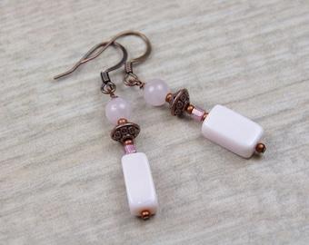 Pink Opal Rose Quartz Copper Earrings