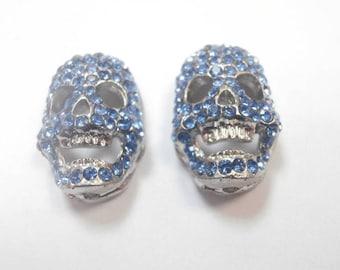 2 connectors skull rhinestone size 2 x 1.5 cm
