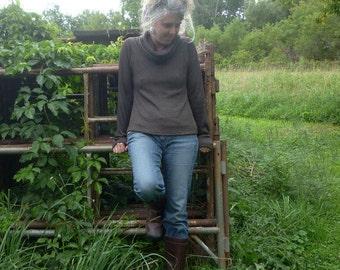 Women's Organic Merino Wool Turtleneck Sweater Relaxed Fit Merino Wool Soft Wool Sweater Womens Clothing Walnut Brown Natural