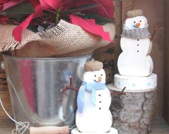 Wood Snowman, Holiday Decor, Holdiay Decoration, Wood Snowman Decor, Woodland Figure, Snowman Statue, Christmas Decor, Shelf Sitter, Rustic