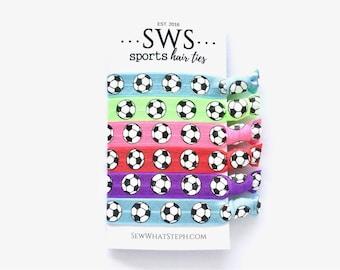 Soccer Hair Tie Favors | Soccer Hair Ties | Soccer Mom | Soccer Gifts | Soccer Mom | Soccer SVG | Soccer Ball SVG | 6ct