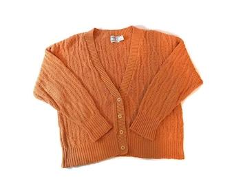 Vintage Orange Knit Thick Cardigan