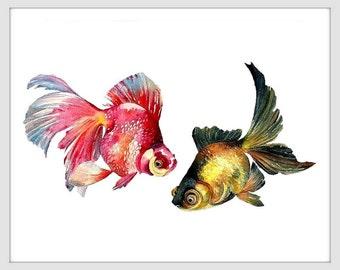 Goldfish Art Watercolor Goldfish Painting Fish Art Print Goldfish  Print Fish Print Fish