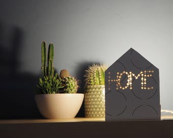 White lamp, Geometric lamp, Wooden lamp, Cottage lamp, Bedside table lamp, Gift for her, Media consolle lamp, Design lamp, Living room lamp