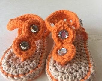 Orange sandals, crochet sandals, ready to send baby sandals, baby shoes, baby shower gift, baby's first shoes, orange shoes, cotton shoes