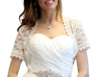 Bridal Lace shrug, Ivory bridal Lace Jacket, Ivory bridal lace bolero, Wedding Jacket 720SLJ-IVY
