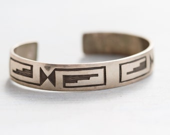 Tribal Cuff Bracelet - Sterling Silver with Geometric Patters - Signed Nicky Butler - Sterling NB