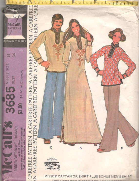 1970s Lost Horizon inspired men's and women's caftan pattern, McCall's 3685