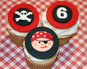 Fondant cupcake toppers Pirate Party
