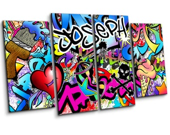 Personalised Graffiti Wall Art Canvas Print   Large Four Piece Set  Boys  Girls Childrens Bedroom