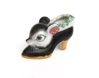 Vintage Deer Head Shoe Figurine, Made in Japan, Mini Planter, Collectible Shoe Animal Deer Figure