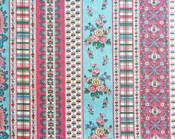 """Floral Stripe Cotton Fabric - 1 Yard Remnant 45"""" Wide - Paisley Stripe Fabric - Multi-Pattern Fabric - Floral Quilt Fabric"""