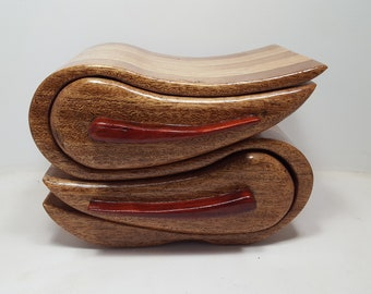 Decorator Jewelry Box with Shapes 2-drawer (BX0261) Wood Jewelry Box Hand Made Jewelry Box