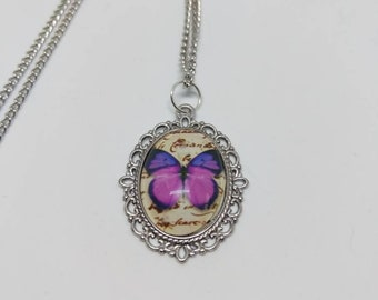 Butterfly necklace, butterfly chain, silver chain, silver necklace, purple necklace, purple chain,