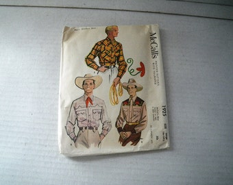 1954 McCalls 1925 Cowboy Shirt Pattern Boys Teen Mens Chest 42 44 Size 16 16 1/2
