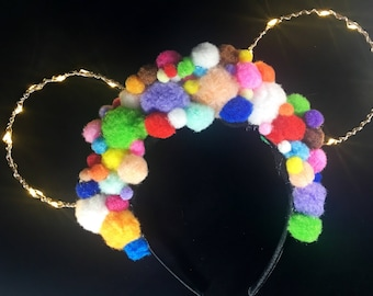 Light Up Colorful Pom Pom Ears