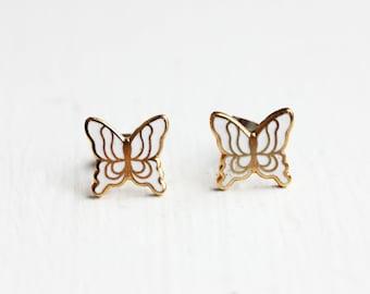 White Butterfly Studs, Butterfly Studs, Enamel Studs, Butterfly Wing Studs, White Studs
