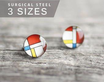 Mondrian post earrings, Surgical steel stud, Tiny earring studs, Art stud earrings