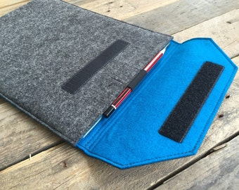 iPad Pro Sleeve - iPad Pro Case - iPad Pro Cover with Pen Loop - Mottled Dark Grey and Choice of Inner Colours - 100% Wool Felt