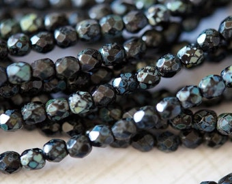 4mm Jet Black Fire Polished Beads - Black Picasso Fire Polished - Picasso Finish - Czech Glass Beads - Bead Soup Beads