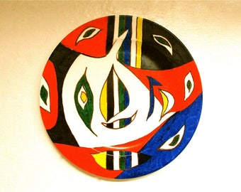 Original modern art,hand painted plate,cubism,picasso inspired,tribal art,plate,decorative plate,unique home decor,unusual christmas gift