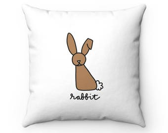 Forest Friend - Rabbit - Spun Polyester Square Throw Pillow - Animal Accent Pillow - Nature Outdoors Forest Bunny Woodland Decorative Pillow