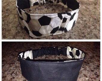 Adult black soccer reversible fabric headband/hairband/hair accessory