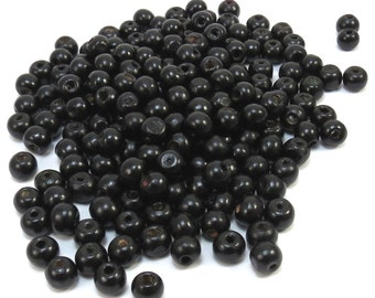 Black Wood Beads, 8x7mm Rondelle Beads, 100 Natural Wood Beads, 8mm Black Wood Beads, Beading Supplies, Item 345wb