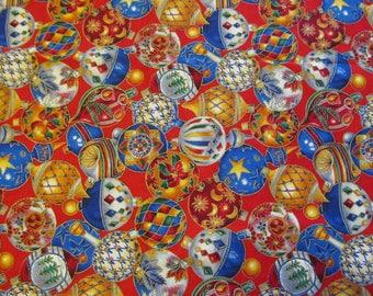 Free Shipping! Christmas Ornament Fabric, VIP Print by Joan Messmore, Cranston Print Works. 1/2 Yard. 17104