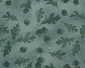 emerald green fall autumn fabric MEASURES 36 INCHES by 1.25 YARDS
