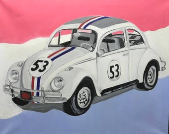 Herbie the luv bug canvas oil painting