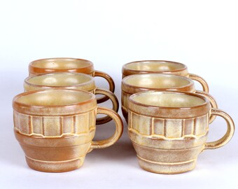 Frankoma Wagon Wheel Pottery Cups Set of 6