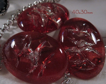 "40x30mm - ""In Flight"" - Red - Acrylic Cabochon - 3 pcs : sku 07.21.12.3 - Q15"