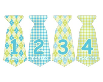 12 Pre-cut Monthly Baby Waterproof Glossy Stickers - Neck Tie Shape - Design T006-01