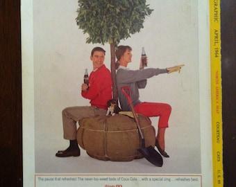"""Vintage 1960s COCA COLA """"coke"""" Ad - coca cola ad"""