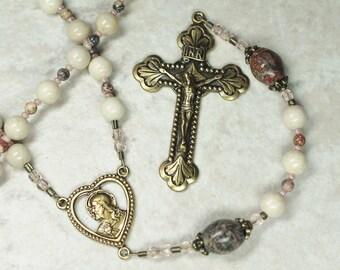 Woman's Catholic Rosary; Ivory Riverstone & Brass Rosary; Catholic Gifts
