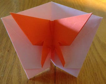 origami butterfly card that flutters with red envelope