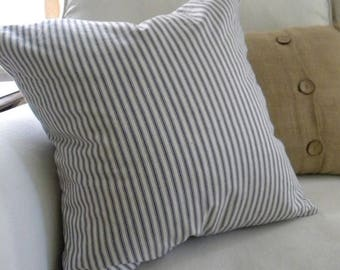 Blue Ticking Stripe Pillow Cover, Stripe Pillow Cover
