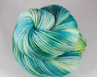 Hand Dyed Sock Yarn, hand dyed wool, variegated sock yarn, nylon sock yarn, green, turquoise