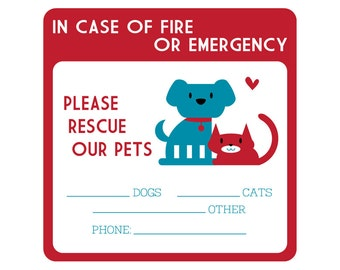 Two Emergency Pet Rescue Decals | FREE SHIPPING dog lover cat lover front door sticker fire safety pets pet safety pet lover gift cat mom