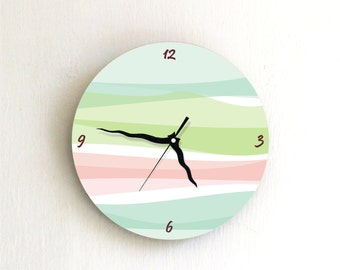Soft pastel retro geometric wall clock,round colorful wood graphic design printed pattern decorative clock,hostess wall art
