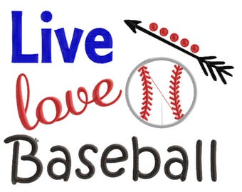 Live Love Baseball Embroidery Design, Baseball Embroidery Design, sports embroidery design, boy Embroidery