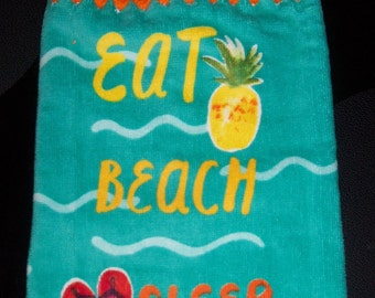 EAT, BEACH, SLEEP Extra Plush and Thick Double Layer Hsnging Crochet Towel for kitchen or bathroom