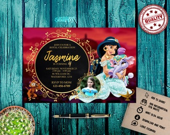 aladdin,aladdin invitations,aladdin birthday invitation,aladdin party,princess jasmine invitation, princess jasmine  birthday,happy birthday
