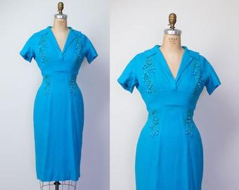 1950s Linen Dress / 50s Teal Wiggle Dress